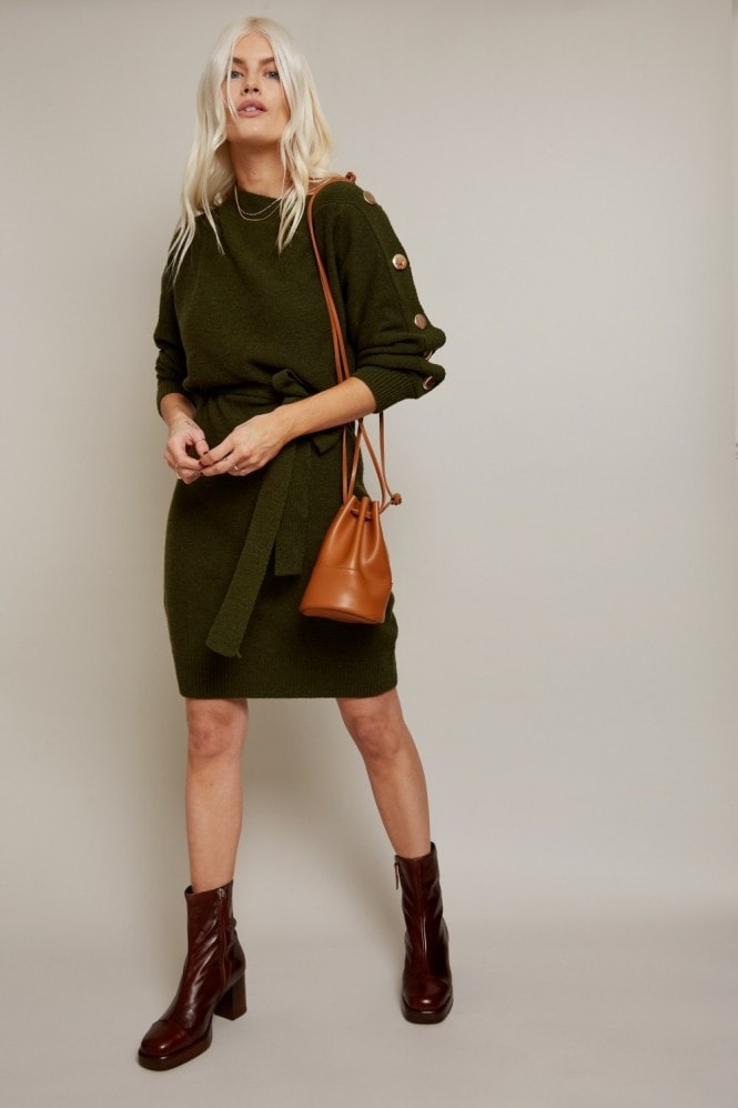 Little Mistress Mika Khaki Slash-Neck Knit Dress