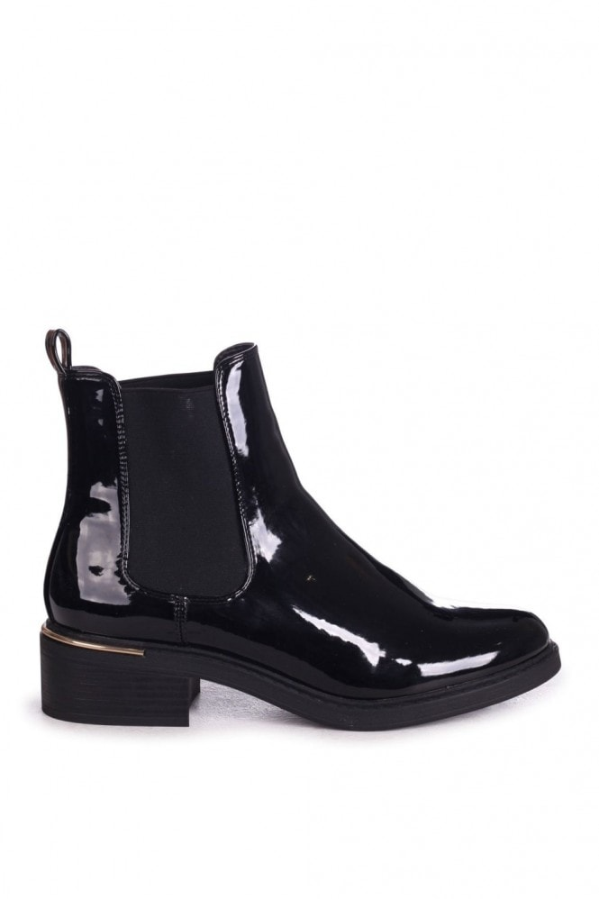Linzi MYTH - Black Patent Classic Chelsea Boot With Gold Heel Trim