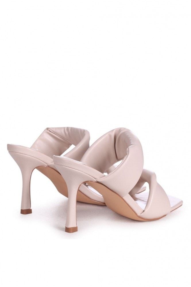 Linzi RIVAH - Nude Nappa Padded Double Front Strap Slip On Square Toe Mule
