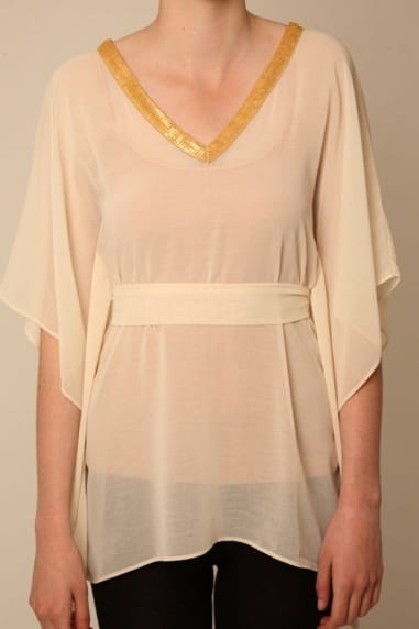 Nude Kimono Top with Gold Sequin Trim