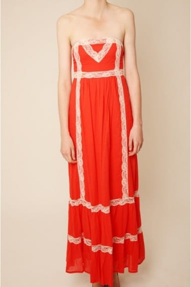 Tomato Lace Trim Detail Strapless Maxi Dress