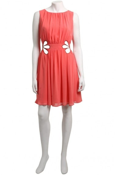 Coral Jewel Cut Out Detail Dress