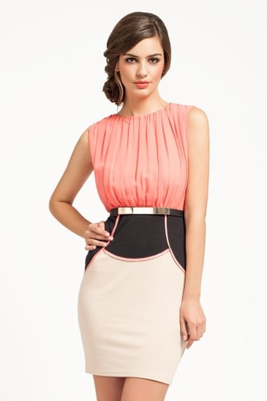Coral/ Black / Cream 2 in 1 Dress With Gold Belt