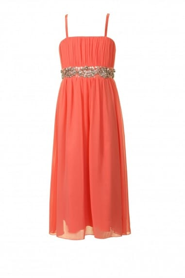 Coral Chiffon Embellished Party Dress