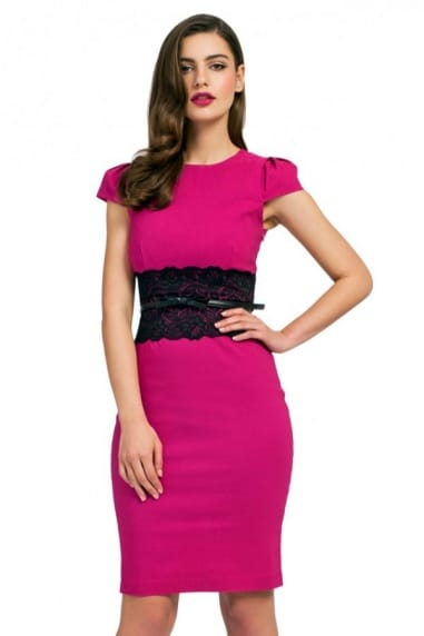 Pink Cap Sleeve Black Lace Panel Shift Dress