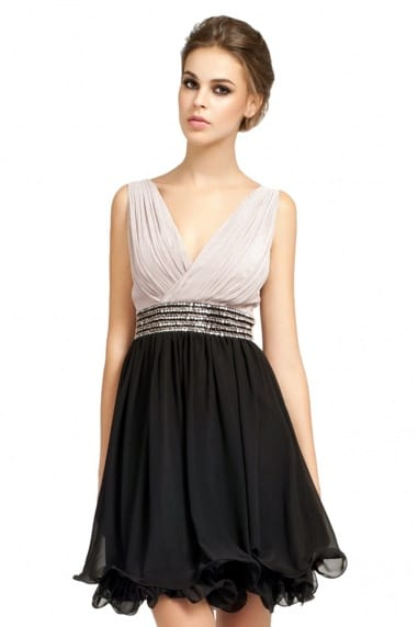 Mink & Black Pleat Detail Embellished Waistband Prom Dress