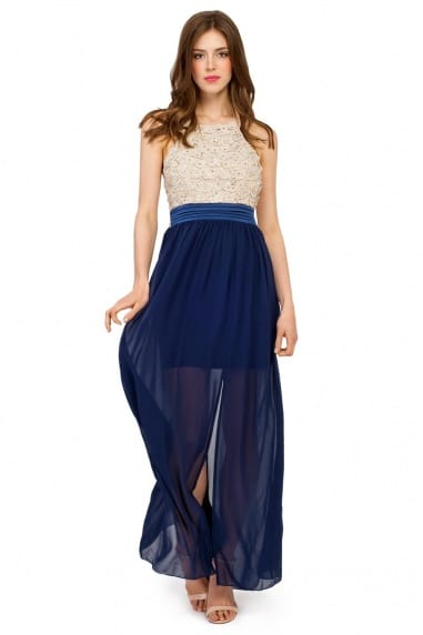 Cream And Navy Floral Applique Halterneck Maxi Dress