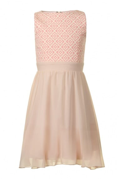 Pink Jacquard Top Chiffon Dress