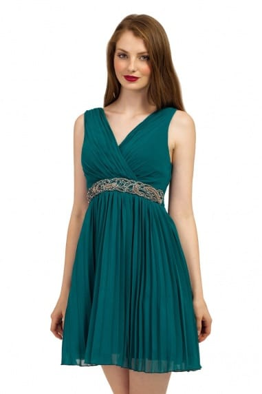 Forest Green Cross Over Embellished 2 in 1  Dress