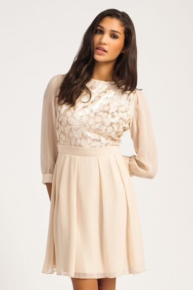 Cream & Gold Lace Sequin Embellished Dress