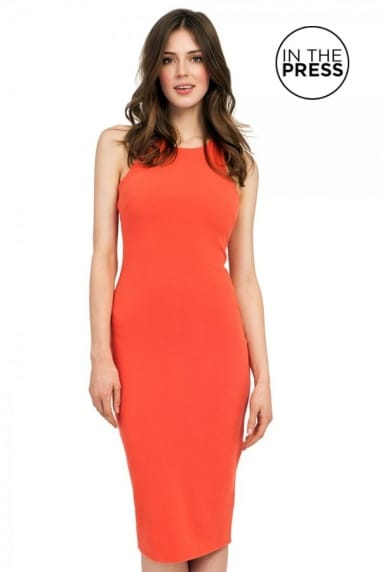 Orange Sleeveless Racer Front Bodycon Midi Dress