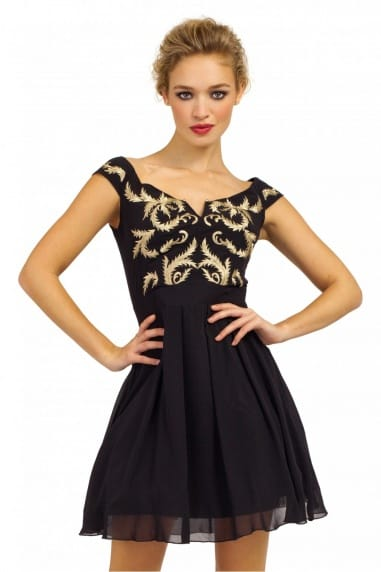 Black & Gold Drop Sleeve Gold Embroidered V Bar Prom Dress