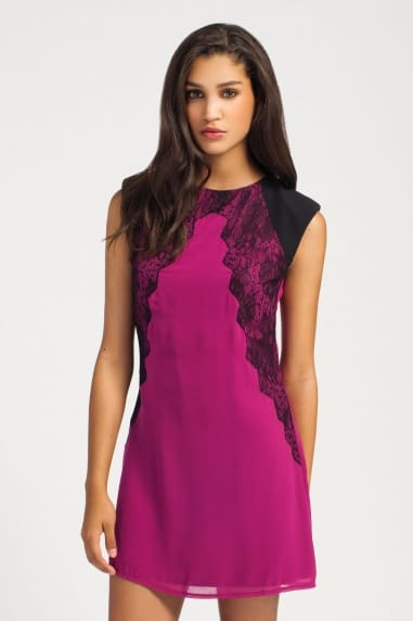 Raspberry & Black Lace Panel Detail Sleeveless Shift Dress