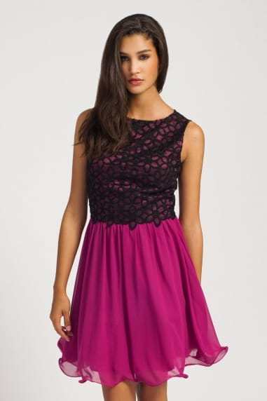 Raspberry & Black Lace Overlay Fit And Flare Dress