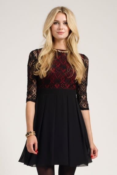 Black & Berry Lace Detail Long Sleeve Skater Dress