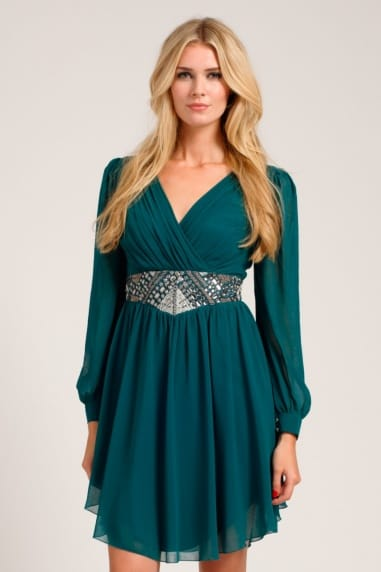 Forest Green Long Sleeve Cutout Detail Embellished Waist Dress