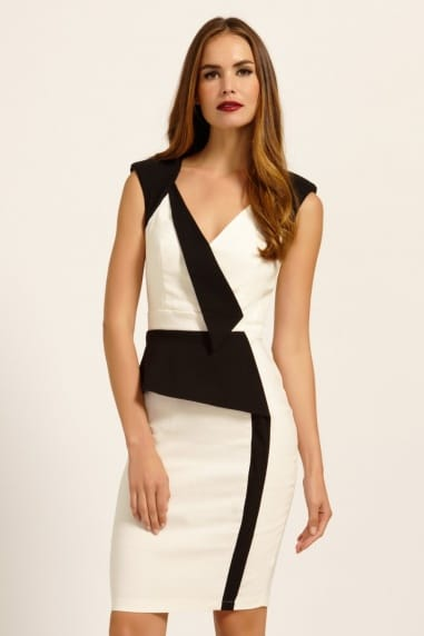 Cream & Black Contrast Panel Detail Bodycon Dress