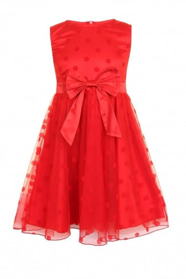 Red Polka Dot Bow Front Party Dress