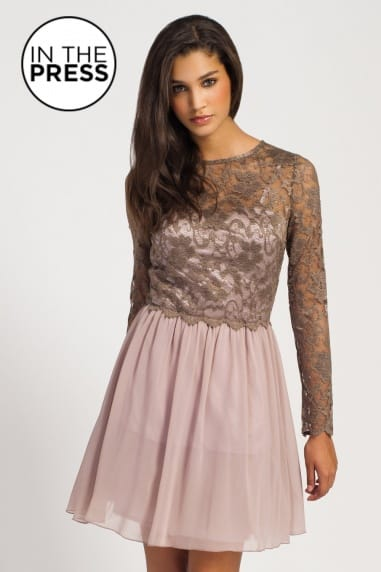 Mocha Lace Detail Bodice Long Sleeve Fit And Flare Dress
