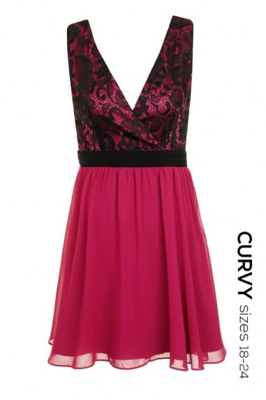 Curvy Raspberry and Black Exclusive Lace Body Skater Dress
