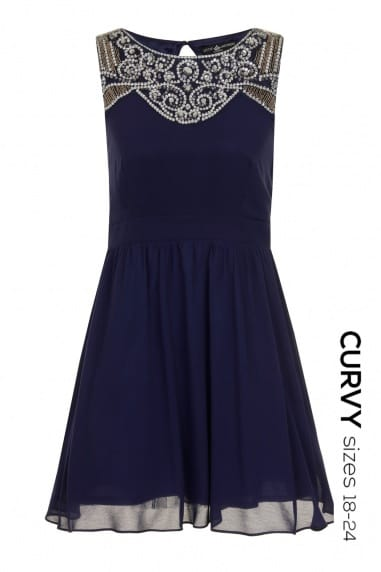 Curvy Navy Embellished Yoke Skater Dress