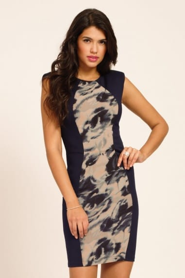 Navy Abstract Print Panel Detail Bodycon Dress