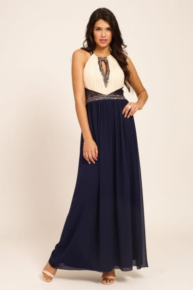 Cream & Navy Embellished Detail Lace Panel Maxi Dress