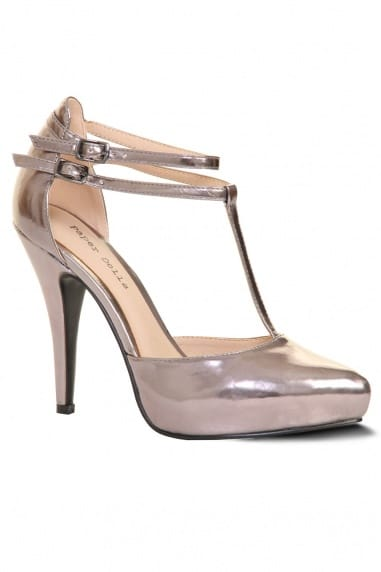 Pewter Metallic T Bar Court Heel