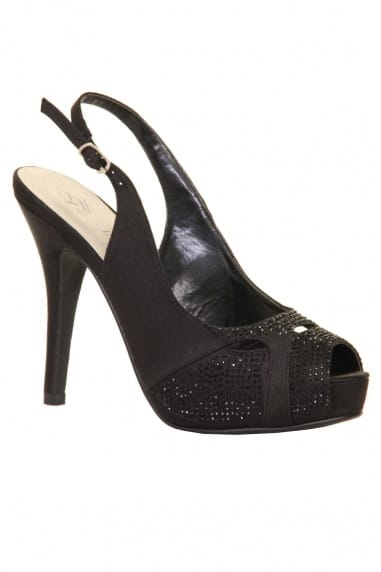 Black Embellished Sling Back Peep Toe Heel