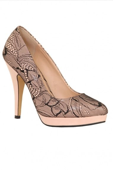 Nude & Black Lace Overlay Patent Court Heel