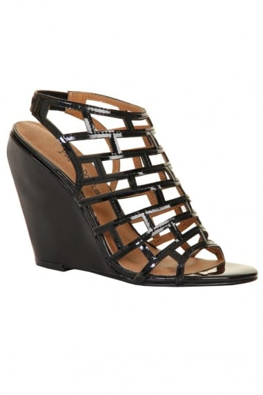 Black Cage Patent Wedges
