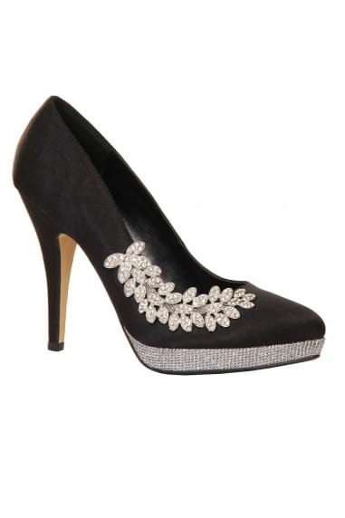 Black & Silver Embellished Leaf Detail Court Heel