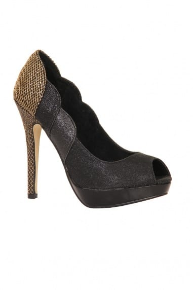 Black & Metallic Glitter Scallop Edge Platform Heel