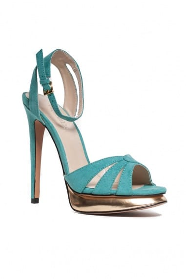 Turquoise Suede Peep Toe Gold Heeled Sandal