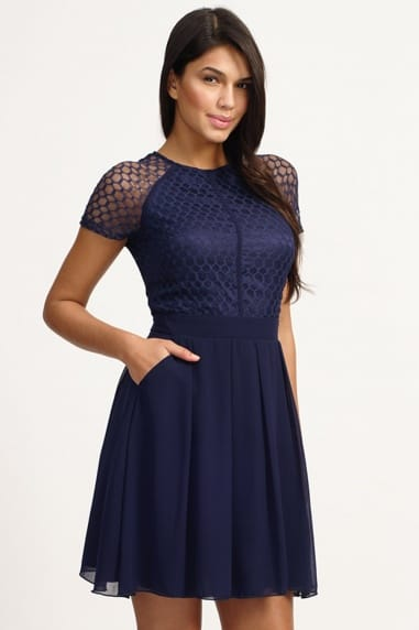 Navy Lace Detail Cap Sleeve Fit and Flare Dress