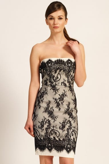 Black & Cream Lace Overlay Bandeau Dress