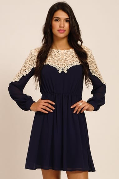 Navy And Cream Lace Panel Detailing Long Sleeve Dress