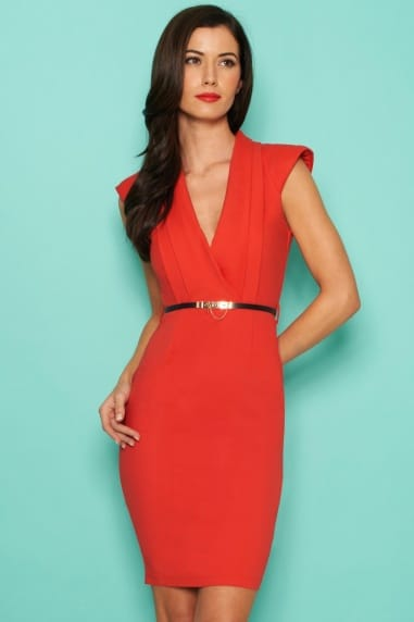Tomato Power Shoulder Wrap Bodycon Dress