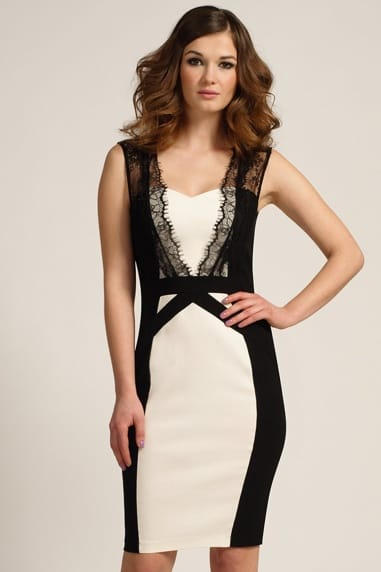 Black & Cream Lace Panel Detail Bodycon Dress