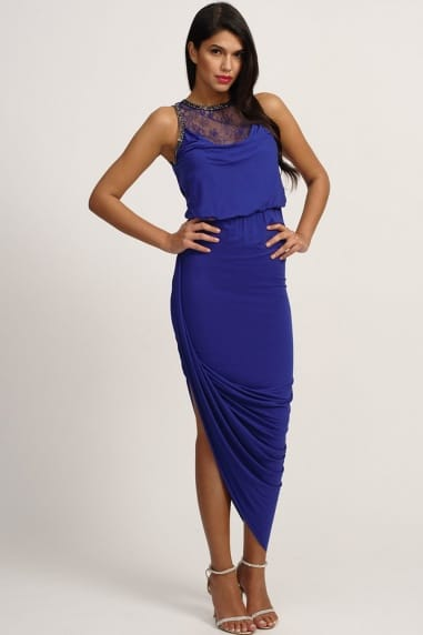 Blue Embellished Lace Asymmetric Maxi Dress