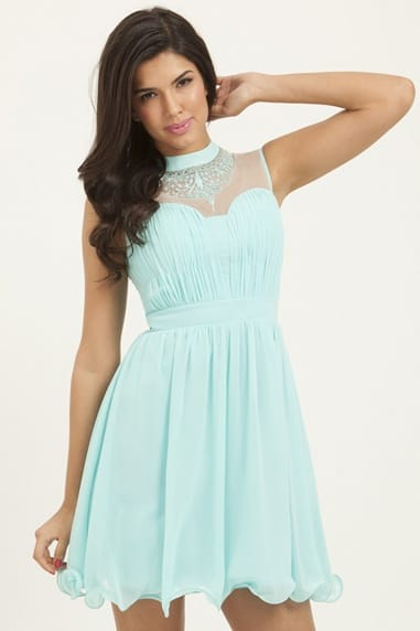 Seafoam Floral Mesh Party Dress