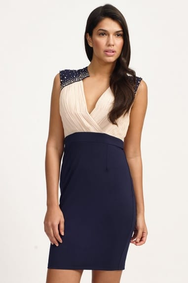 Cream & Navy Embellished Crossover Bodycon Dress