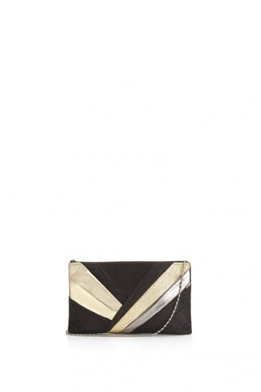Black and Metallic Layered Clutch