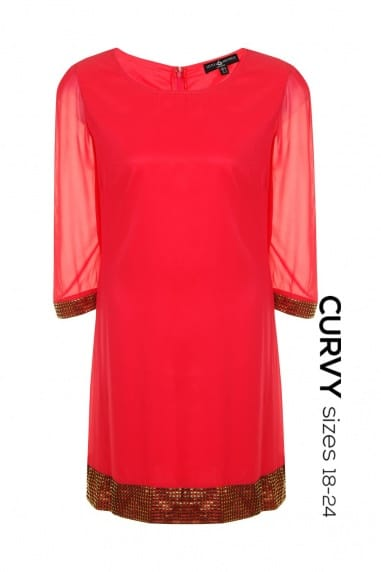 Curvy Coral Shift Dress with Embellished Cuff and Hem