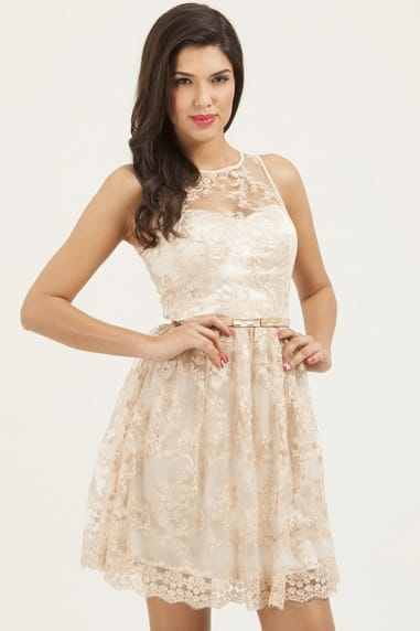 Cream Floral Lace Overlay Prom Dress