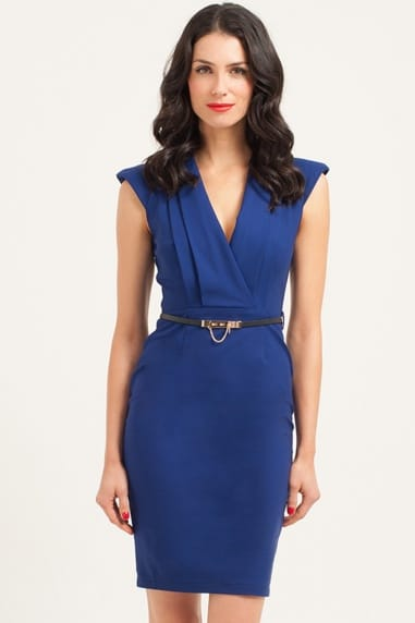 Royal Blue Power Shoulder Wrap Bodycon Dress