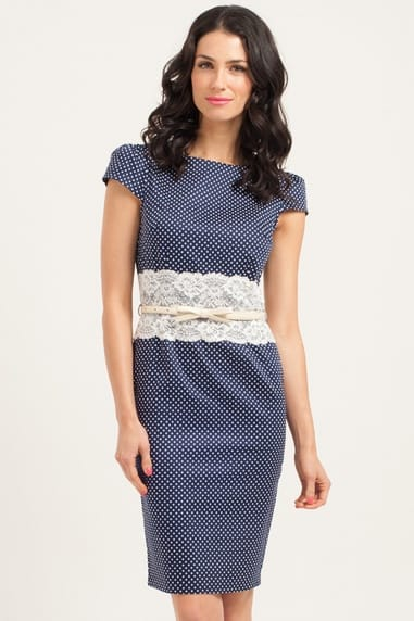 Navy & Cream Polka Dot Lace Middle Bodycon Dress