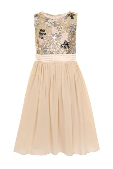 Cream Heavily Embellished Party Dress