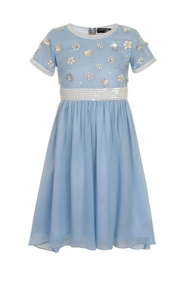Blue Embellished Floral Party Dress