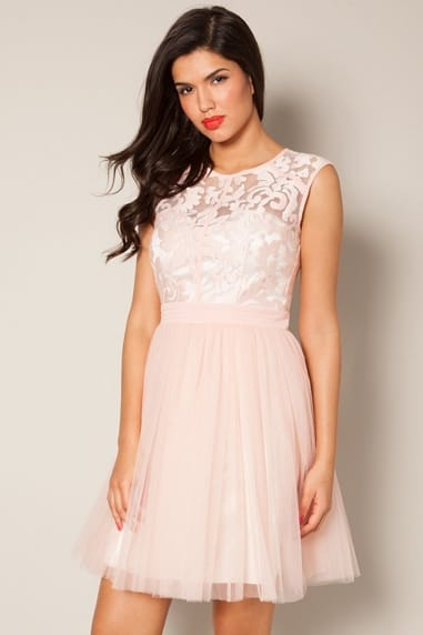 Pink Floral Lace Prom Dress